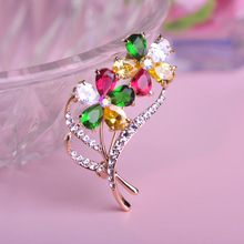 Luxury CZ Zircon Rhinestone Brooches Dual Flowers Leaves Women Classic Jewelry Wedding Accessories Cachecol Hijab Pin Up Broches