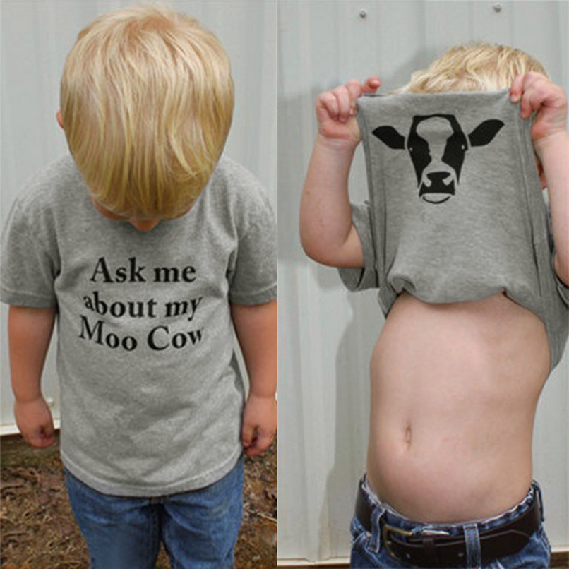 Summer Boys T-Shirt Cute Kids Children Baby Boys Short Sleeve Cow Inside Letter Print Soft Tops T-Shirt Clothes M8Y08
