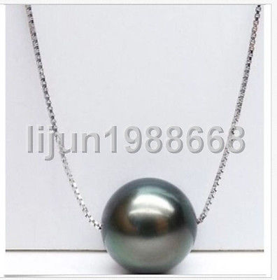 AAA+ 11-12MM TAHITIAN BLACK PEARL PENDANT NECKLACE 925 silverAAA+ 11-12MM TAHITIAN BLACK PEARL PENDANT NECKLACE 925 silver
