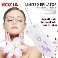 ROZIA Profesyonel Epilatör Elektrikli Kadın Vücut Yüz Yüz Saç Çıkarıcı pamuk ipliği Epilatör