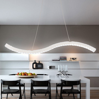 Modern Crystal 30W LED Pendant Light Long Wave Style Dining Room Droplight Home Decorative Crystal