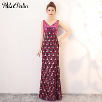 Shoulder Straps V neck Purple Prom Dresses Long 2018 New Sleeveless Sequines Sexy Backless Prom Dresses Plus Size Customized