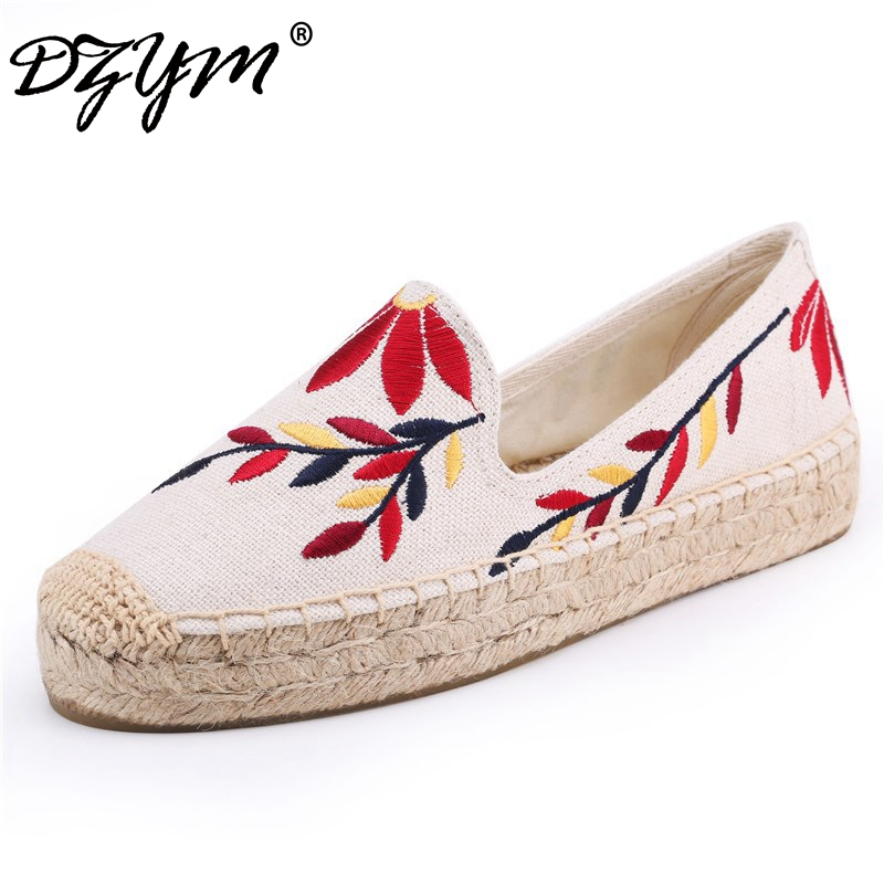DZYM 2018 New Summer Fashion Canvas Espadrilles Women Loafers Hand-made Embroidery Flats High Quality Linen Hemp Zapatos Mujer