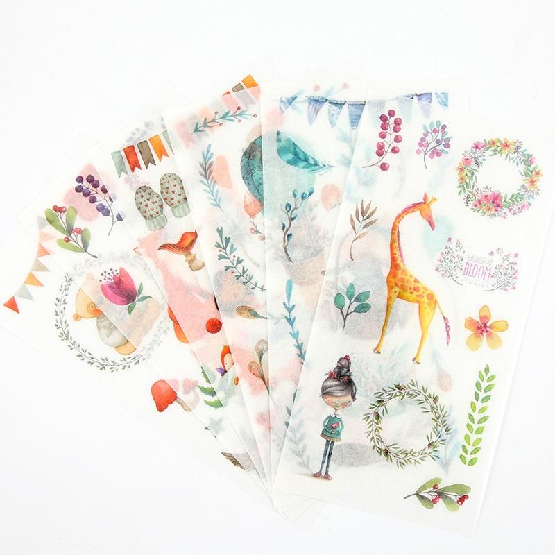 6 Sheets/pack Washi Paper DIY Decorative Adhesive Sticker,Kids Craft Scrapbooking Sticker Set for Diary, Album Calendars Planner