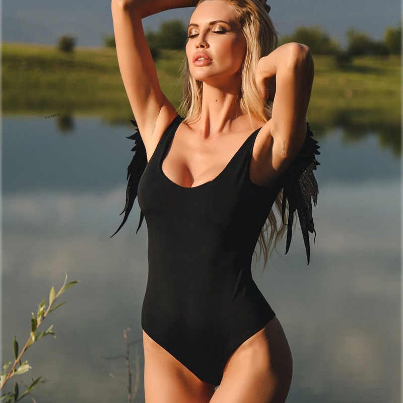 d0c47a28e31 ... Wing Design One Piece Swimsuit Women 2019 Straps Solid Women Swimwear  Fitness Bodysuit Backless Bodysuit Push ...