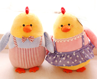 NEW YEAR Gift 1pc 32cm Funny Fat Yellow Chicken Overalls Plush Doll Pillow Stuffed Toy Kids