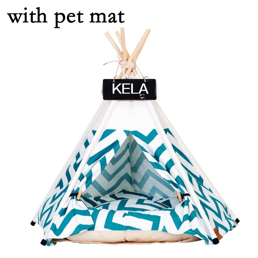 JORMEL namiot dla zwierząt domowych dla psa łóżko dla kota domek zabawkowy przenośny zmywalny Pet tipi wzór w paski moda 2019 zawierają mata w Domki, budy i kojce od Dom i ogród na  Grupa 2
