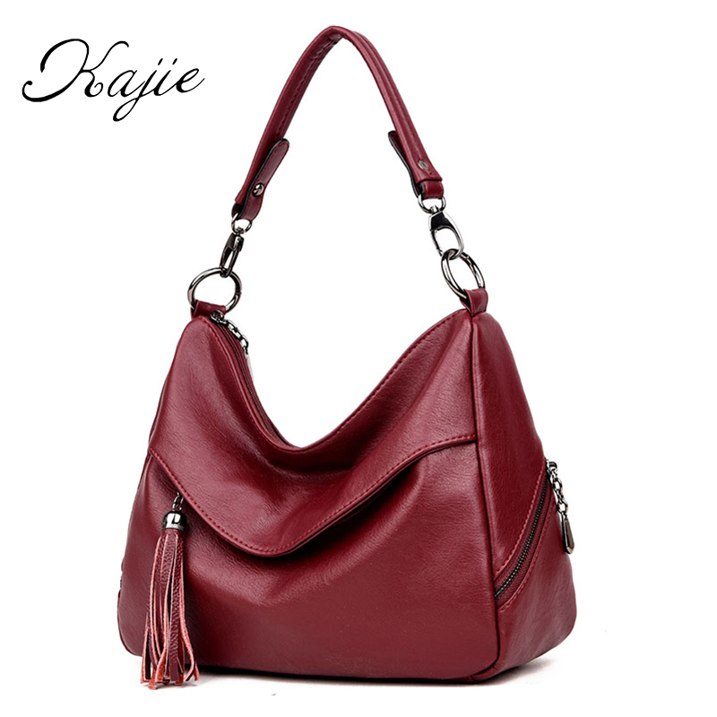 Kajie Luxury Handbags Women Bags Designer Tassel Hobos Shoulder Bag Pu Leather Crossbody Bags For Ladies Casual Tote Bag Sac New mengxilu brand tote luxury handbags women bags designer handbags high quality pu leather bags women crossbody bag ladies new sac