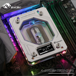 Bykski CPU водный медный блок для AMD RYZEN3000 AM3/AM4/TR4/1950X/X399 X570 материнская плата 5 в A-RGB дисплей температуры OLED