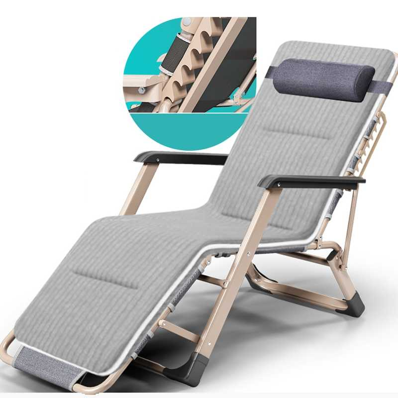 14d20a164032 Folding Office Nap Bed Portable Adjustable Chair Breathable Cot Chaise Lounge  Recliner Sleeping Bed 180 Degree
