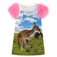 Детская одежда, платье для маленьких девочек с принтом «кенгуру», модные вечерние платья на день рождения, осеннее платье с рукавами из искусственного меха для малышей