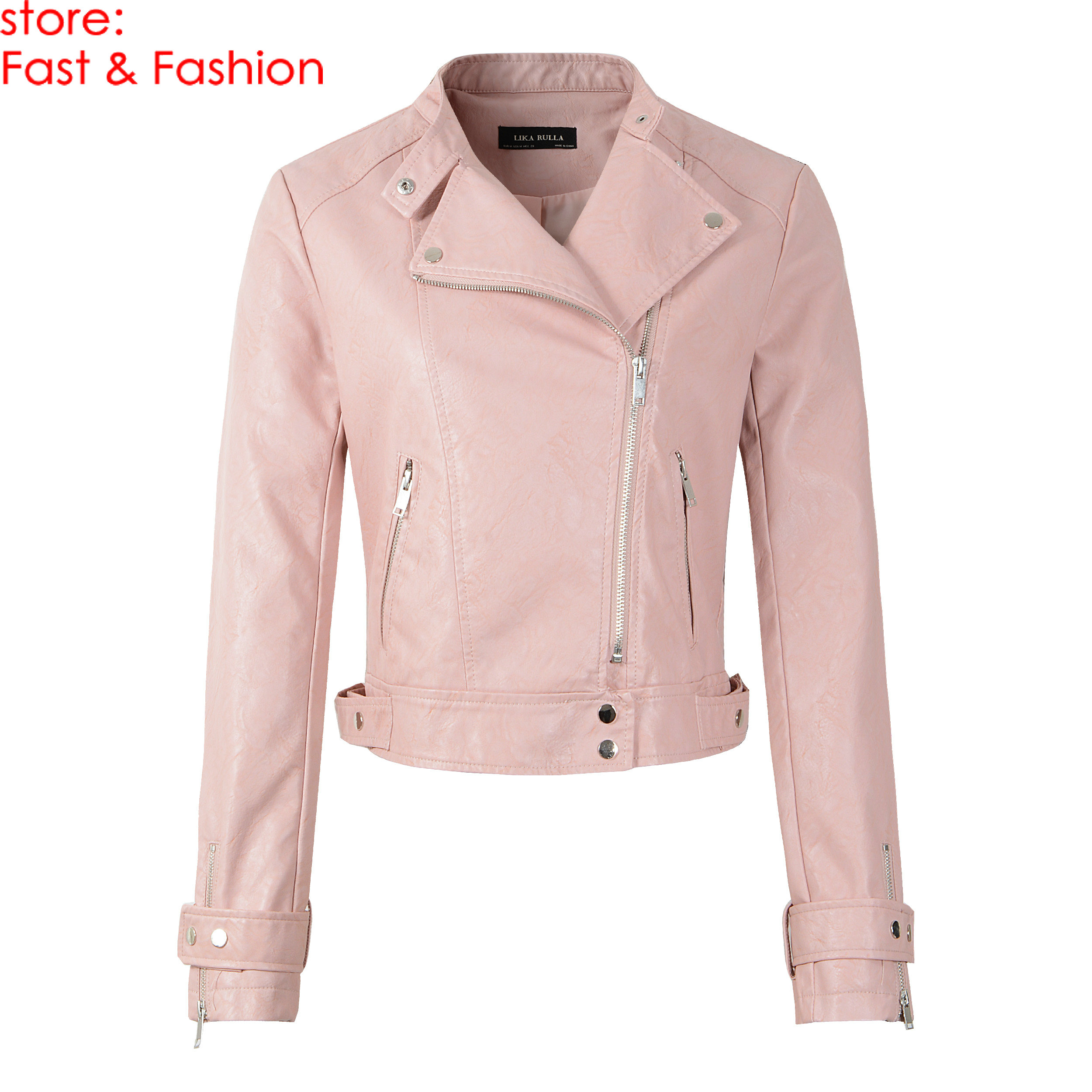 2019 New Fashion Women Casual Motorcycle Faux Soft   Leather   Jackets Girls Autumn Winter Pink Black Coat Outwear PU Streetwear