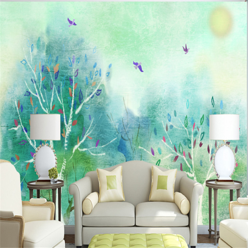 Custom Wallpaper Murals Green Wallpaper Feature Wall Free Wallpaper Backgrounds Family Wall Decor Bedroom Decoration Restaurant In Wallpapers From