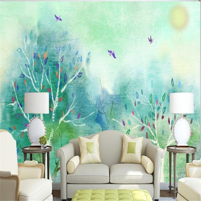 Custom Wallpaper Murals Green Wallpaper Feature Wall Free Wallpaper