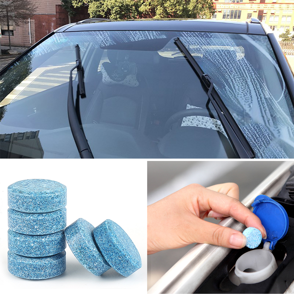 30pcs Car Windshield Glass Washer Window Cleaner Safe Compact Effervescent Tablets Detergent Fine Concentrated Solid Can Be Repeatedly Remolded.