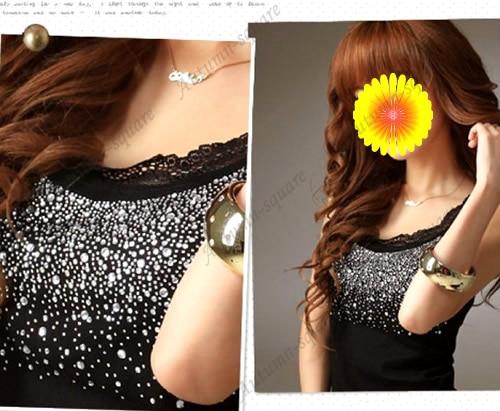 Fashion Women Elegant Lace Collar Bling   Tank     Tops   Vest Sleeveless T-shirt F05