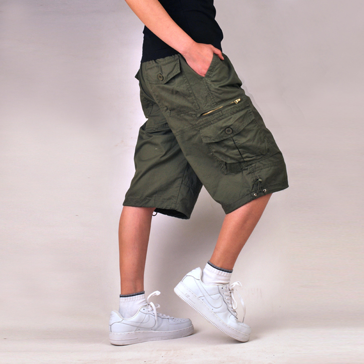 Red Green hip pop Military Army Combat Khaki Mens Cargo Shorts Casual Multi-pocket Size 30-40