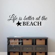 Life Is Better At The Beach Quotes Wall Decal Quote Sticker Modern Decor Holiday Wallpaper Cut Vinyl Q266