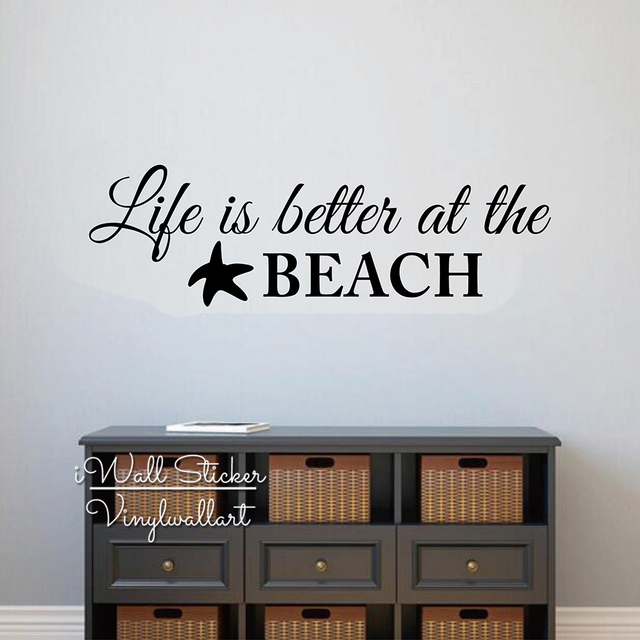 Life Is Better At The Beach Quotes Wall Decal Beach Quote Wall Sticker  Modern Wall Decor