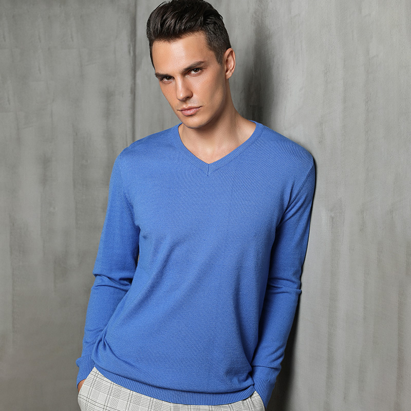 BARESKIY Cashmere Sweater Men's New V-neck Thin Pullover Sweater Solid Color Casual Business Shirt Men's Stretch Knit Jacket