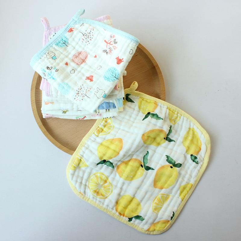 Newborn Bibs&Burp Cloths Cute Comfortable Cotton Cartoon Fruit Waterproof Anti-dirty Saliva Towel Kerchief 4 Layers 28*28CM 0-3T