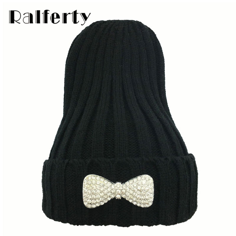 Ralferty Cute Women Bow Hats Winter Beanies Skullies bonnet femme beanie Student Warm Cap gorros mujer invierno Multi Colors Hat  1pcsfashion knits hat cap winter hat for women hat skullies beanies brand soft cap female cap bonnet femme gorros mujer invierno