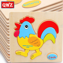 QWZ Baby Toys Cute Cartoon Animals Wooden 3D Puzzle Children Tangram Shape Intelligence Kids Gifts Educational