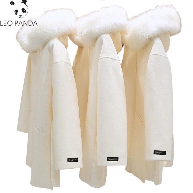 2019 Winter Fashion Slim Women White Korean Coat Hooded Fake Wool Jacket Plus Size Long Trench Coat Female Overcoats