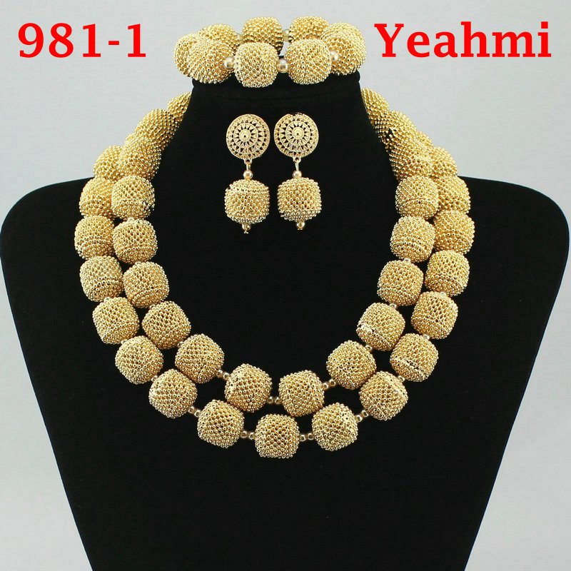 2018 New Fashion African Beads Jewelry Set Exquisite Carved Dubai Pure gold -color Jewelry Set Nigerian Wedding Bridal 981-2