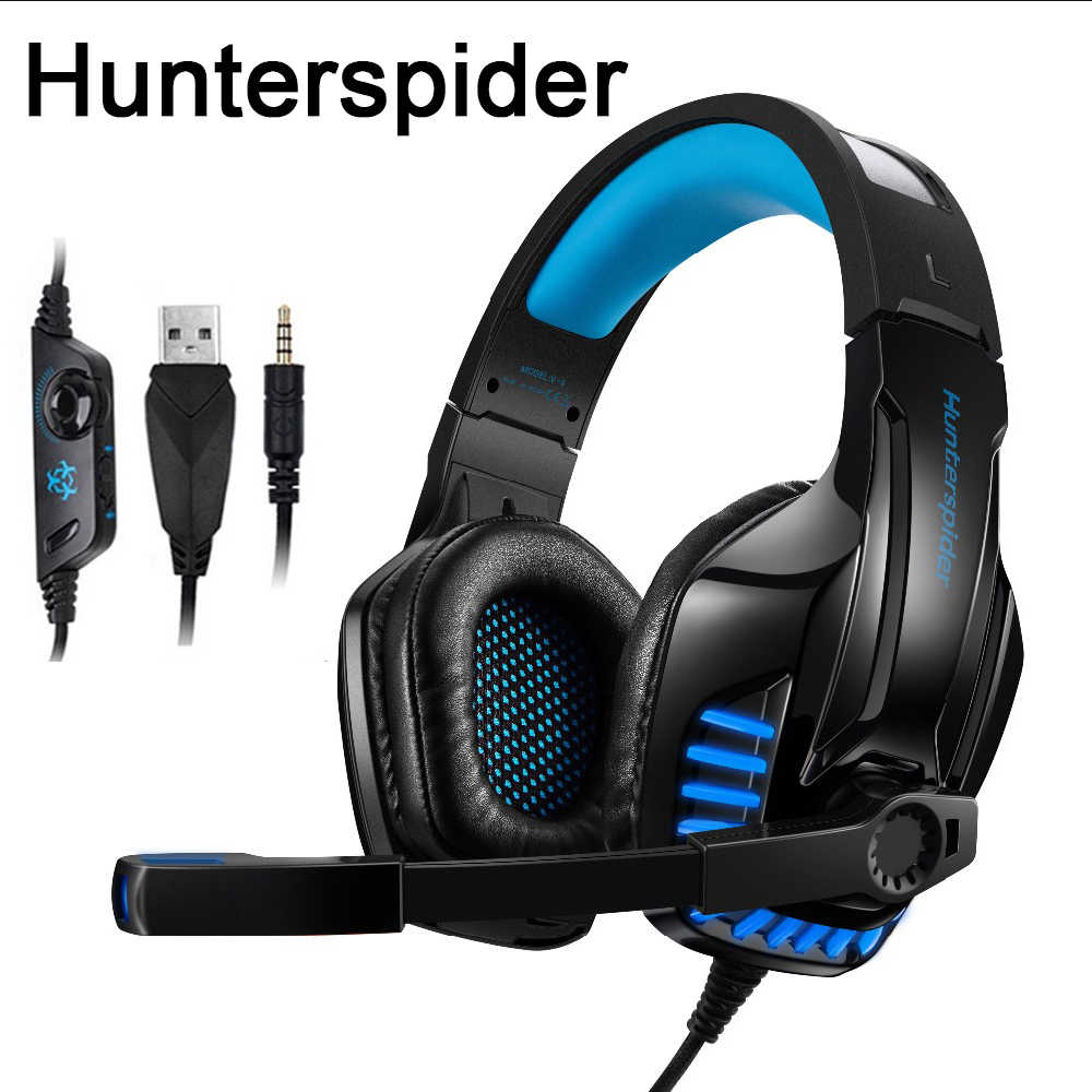 Hunterspider V6 Gaming Headset for Xbox One, PS4, Over Ear Headphones with  Mic for for Computer Laptop Mac Nintendo Switch Games