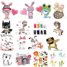 Iron on Patches Cute Small Animal Unicorn Thermo Transfer for Clothes Stickers Letter Badges Washable DIY T-shirt Batman Print E