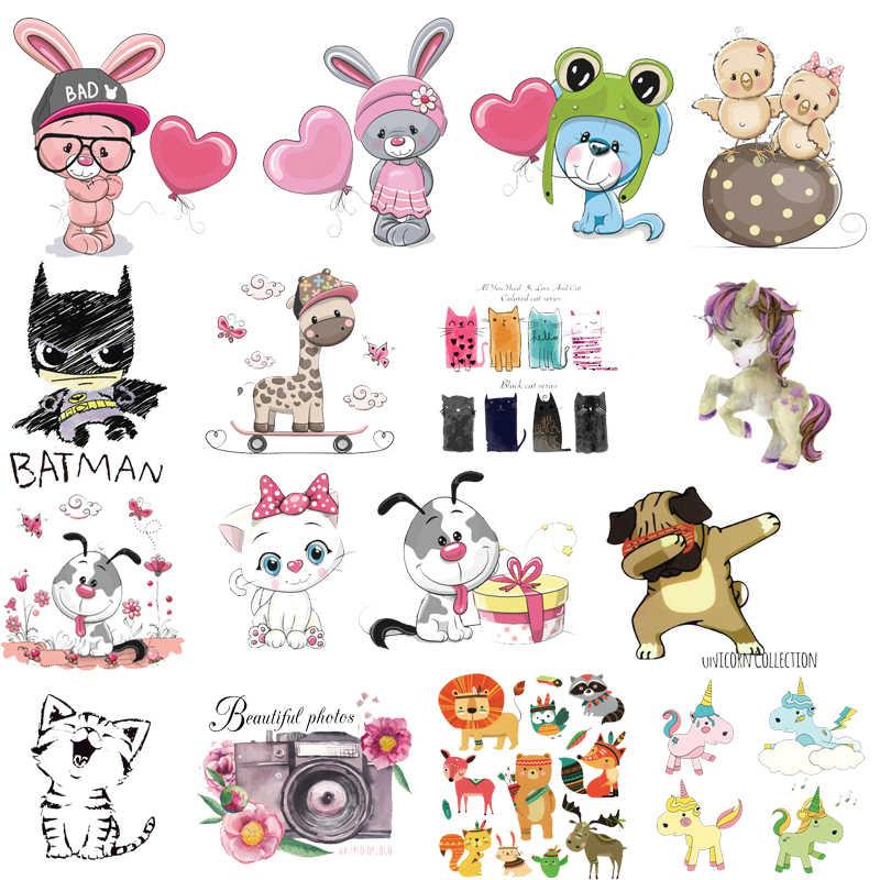 Parches para planchar, pequeño Animal lindo unicornio, transferencia térmica para adhesivos para ropa, insignias de letras, lavables, DIY, Camiseta con estampado de Batman E