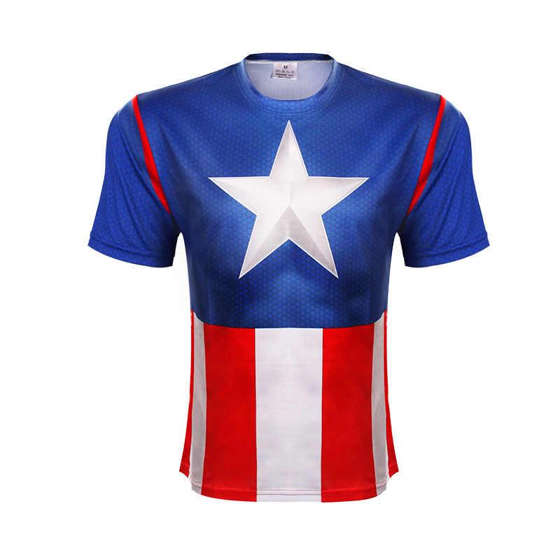 3 D Baskılı T Shirt kısa kollu tişört Marvel Süper Kahraman Avenger Batman T Shirt Erkekler Taban Katmanı Termal Altında Spor