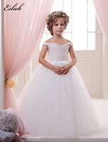 Stunning Lace Appliques Sleeveless Long Ruffles Rosette Holy Communion Infant Girls Dresses Strapless Tulle Ball Gowns