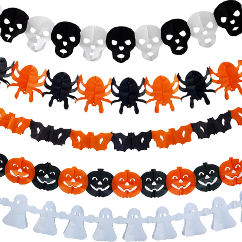 10pcs halloween party house hanging garland pennant banner halloween decoration skull head spider pumpkin scary witch - Halloween Hanging Decorations