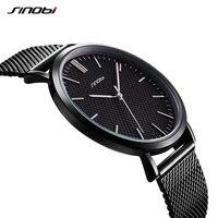 Classic 2017 New Simple Ultra Thin Dial Watch Men Women Business Steel Mesh Wristwatches SINOBI Brand