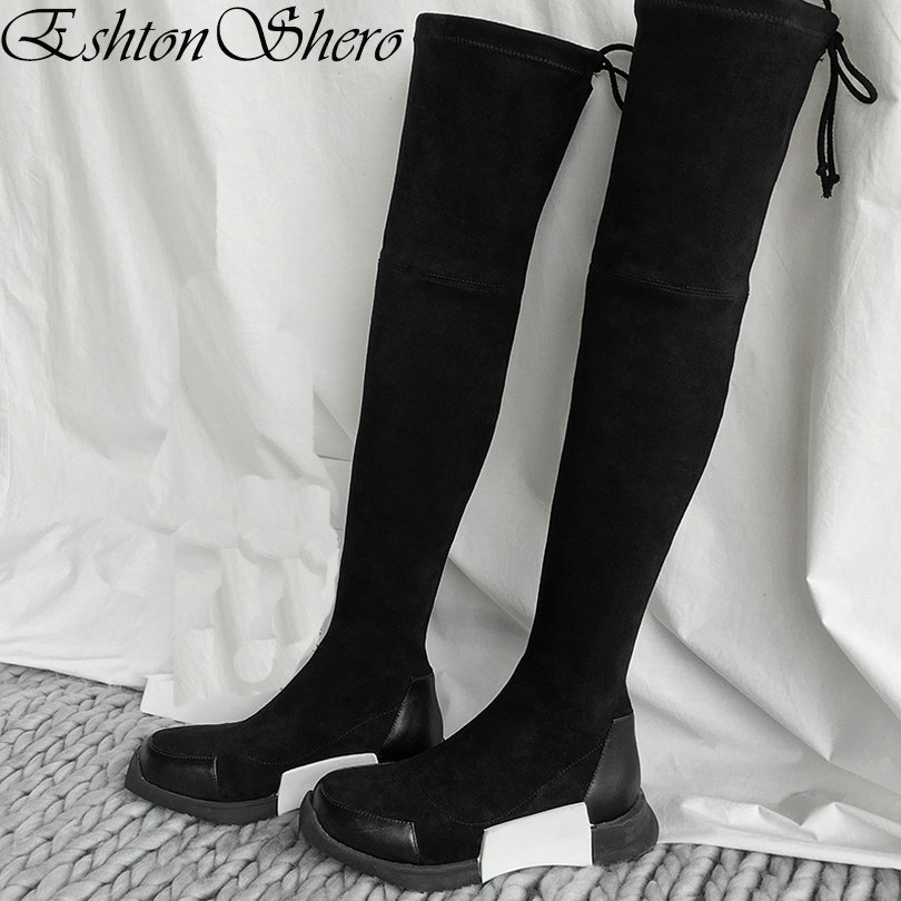 EshtonShero Women Over The Knee Boots Flat Heel Round Toe Black Elastic band Shoes Woman Black Ladies Motorcycle Boot Size 34-40 women shoes scarpe donna elastic boots botines mujer sapato feminino round toe chaussure femme schoenen vrouw over knee boots