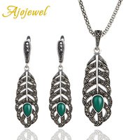 Ajojewel 2017 Vintage Green Resin Stone Feather Earrings Necklace Sets Women Jewelry Set Rhinestone Wedding Party