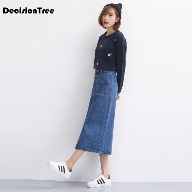 103084e674d 2019 new plus women clothing denim suspender skirt long hot sale korean  style casual straight women jean skirts
