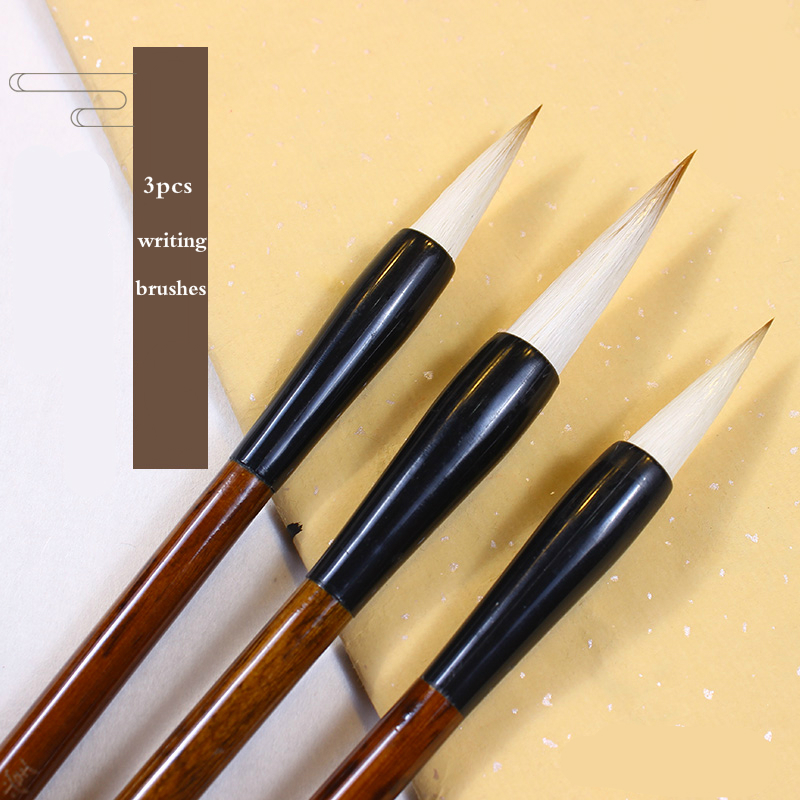 Luxury Calligraphy Brush Pen Set Exquisite Painting Brushes Large Middle Small Regular Script Cursive Writing Brush 3pcs pure langhao calligraphy brush all wood lake pen wenfangsibao set