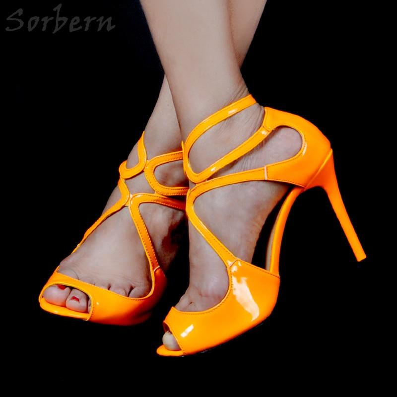 D Lackleder Toe Heels Gre Sorbern Orange High 12 Peep F1J3l5cTKu