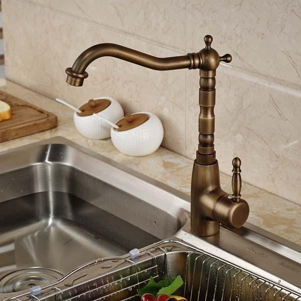 Antique Brass Swivel Spout Kitchen Faucet Vanity Sink Mixer Tap Hot and Cold Water 360 swivel solid brass spring kitchen faucet sink mixer tap swivel spout mixer tap hot and cold water torneira page 1