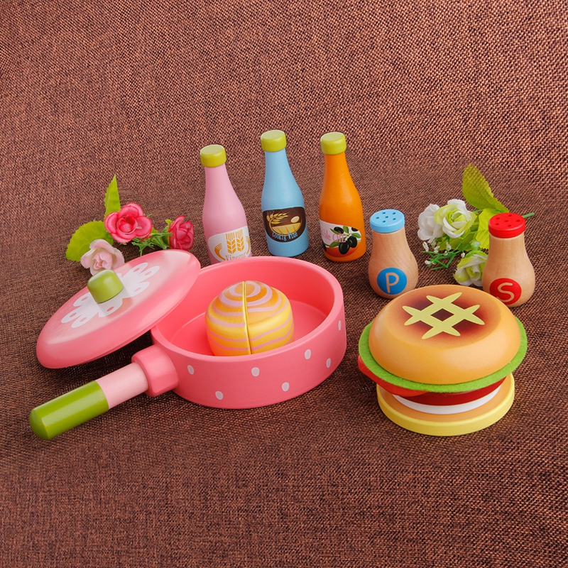Wooden Kitchen Fruit Food Kids Pretend Role Play Toy Cutting Set Child Gifts