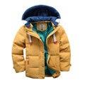 2016 Novas crianças inverno Down & Parkas 4-10 T crianças inverno outerwear meninos casuais com capuz quente jaqueta para meninos meninos sólidos quente casacos