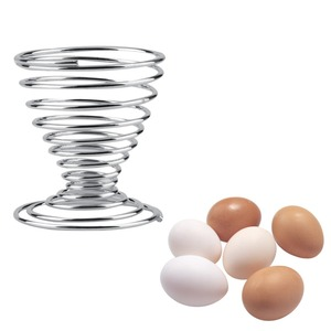 Promo 2Pcs Stainless Steel Spring Wire Tray Boiled Egg Cups Holder Stand Storage Egg Cup Cooking Tool Kitchen Accessories New Arrival