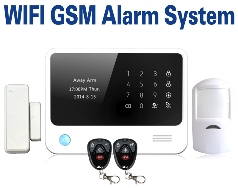 Hot sale LCD touch display home security alarm system  IOS Android app control wifi gsm alarm system with sos function 2017 hot bluetooth multi function audio intelligent family host background music system lcd screen touch light dimmer 2 speakers