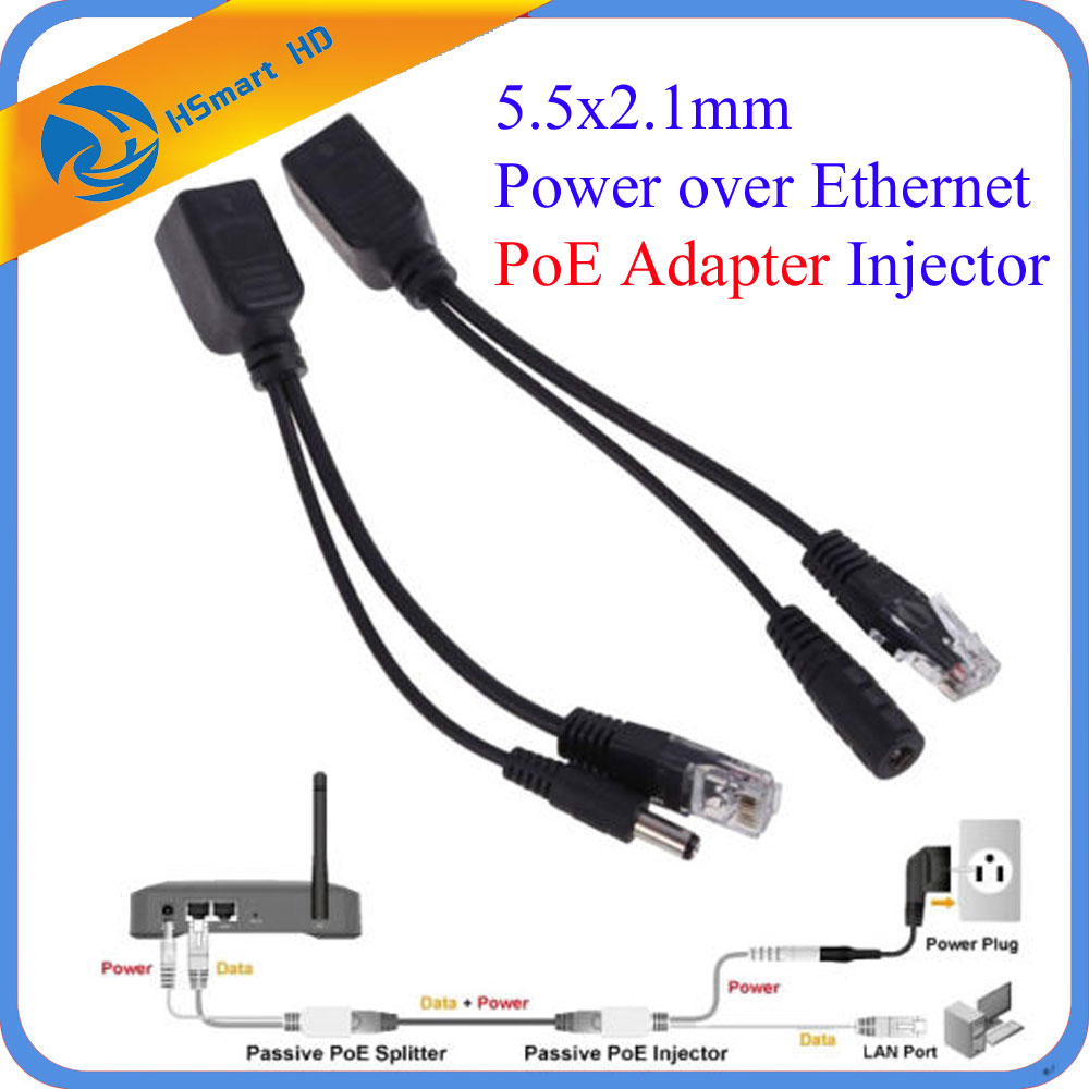 5.5x2.1mm Power Over Ethernet PoE Adapter Injector + Splitter Kit PoE Cable RJ45 Injector+Splitter Kit For Mini 1080P IP Camera