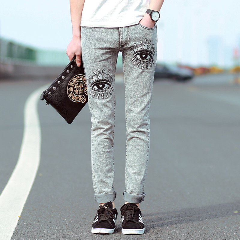 mens skinny jeans slim pencil pants 2018 new Korean fashion elastic jeans cotton eye patterm printed embroidered jeans men