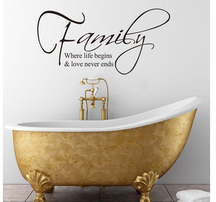 * % Famille où la vie commence l'amour ne finit jamais anglais citation sticker mural décoratif adesivo de parede vinyle amovible sticker mural