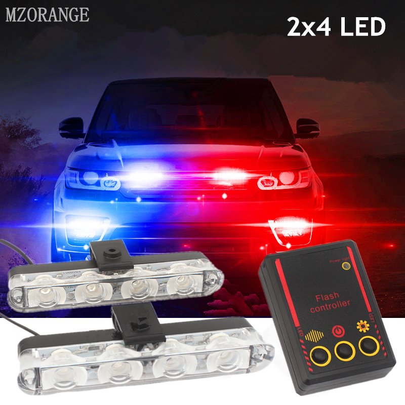 2x4 Led Strobe Warning Police Light Automobiles 12V Car Truck Flashing Firemen Ambulance Emergency Flasher DRL Day Running Light
